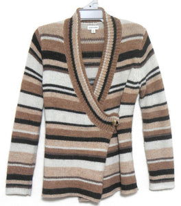 Sussan, earth tones striped alpaca blend fluffy cardigan, sz. 12/M, near new