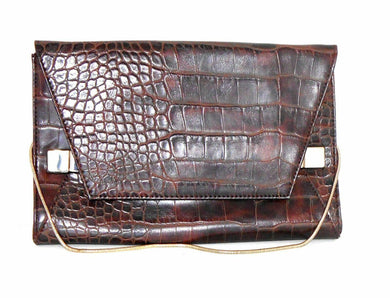 Witchery clutch, brown fake leather with crock pattern, as new