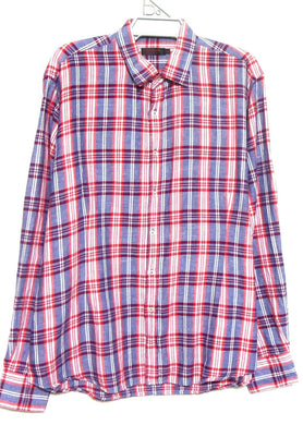 Pierre Cardin check shirt, linen/cotton, sz. XL navy and red - for all seasons, exc. cnd.