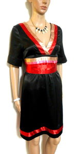 Review black satin dress with red trim & ties, sz. 10, exc. cnd.