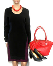 Load image into Gallery viewer, Hugo Boss dress, soft wool bl. black & dark red, sz.10/40, as new