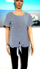 Load image into Gallery viewer, Sportsgirl striped tie tunic, sz. 8 - 10 NWOT, black & white