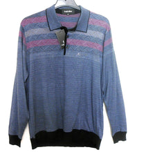Load image into Gallery viewer, Frank Olivier polo style knit top, grey striped, sz.M/48, ***NWT