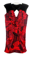 Load image into Gallery viewer, Cue, red & black slinky satin dress, sz. 12, as new