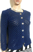 Load image into Gallery viewer, Jill Stewart chunky cotton cardigan, dark blue, sz. 10 NWOT, all seasons