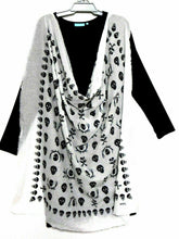 Load image into Gallery viewer, Blue Illusion  black dress with white scull large scarf wrap, sz. 16/XL, as new