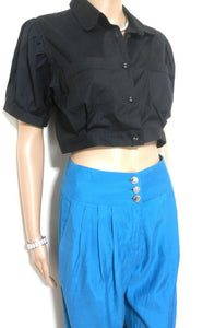 Karen Millen - pleat pants, sz. 8, lagoon blue, tapering leg + FREE black top, exc. cnd.