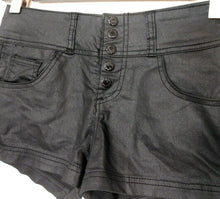 Load image into Gallery viewer, Guess black shorts, coated cotton bl., sz. 8/27, NWOT