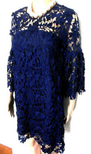 Load image into Gallery viewer, Jason Brunsdon midnight blue lace dress, sz. 6-8, ultra glam, as new