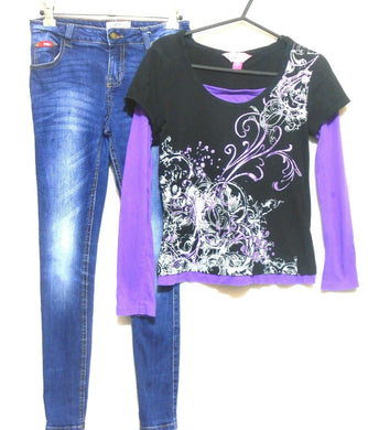 Lee Cooper skinny jeans for girls, sz. 10 + Pink Sugar hoodie, sz. 10
