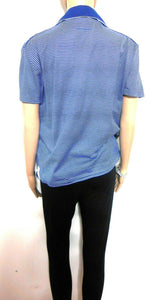 Hugo Boss blue striped tee top with collar, sporty cool, sz. 12-14/L, very good cnd.
