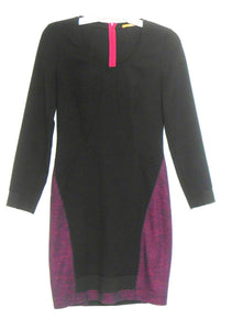 Hugo Boss dress, soft wool bl. black & dark red, sz.10/40, as new