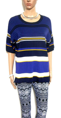Sportscraft knit top, dark blue striped, sz. 14/XXS, smart casual, all seasons, near new