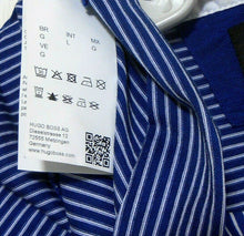 Load image into Gallery viewer, Hugo Boss blue striped tee top with collar, sporty cool, sz. 12-14/L, very good cnd.