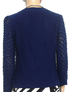 Jill Stewart chunky cotton cardigan, dark blue, sz. 10 NWOT, all seasons