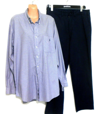 Ralph Lauren shirt, dark blue small check, sz. L-XL Tilden, exc. cnd.