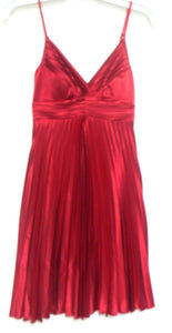 Review dress, rich ruby, sunray pleated, sz. 8, very glam, exc. cnd.