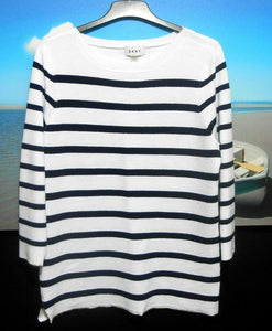 DKNY marine striped sweater, slouchy style sz. 14, white & black, near new