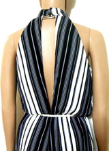 Load image into Gallery viewer, Fleur Wood striped playsuit, sz. 10, black & white, exc. cnd.