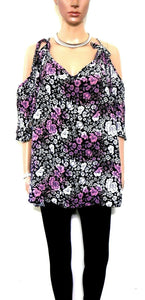 City Chic tunic top, loose styling with bare shoulders, sz. 20/L, black/pink, exc. cnd.