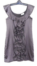 Load image into Gallery viewer, Review dress, gunmetal satin, slinky party style, sz. 12, near new
