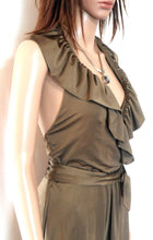 Load image into Gallery viewer, Leona Edmiston halter dress, soft bronze, sz. 10/1, stretch jersey, exc. cnd.