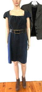 Cue tailored dress with leather belt, black, sz. 12 - for all seasons, exc. cnd.