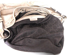 Load image into Gallery viewer, Oroton beige leather drawstring bag, med - large #70567, good cnd.