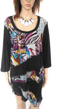 Load image into Gallery viewer, Taking Shape tunic top, black, fine mesh, sz. L NWOT