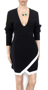 Misguided UK - black bodycon dress, white trim, for all seasons, sz. 14, exc. cnd.