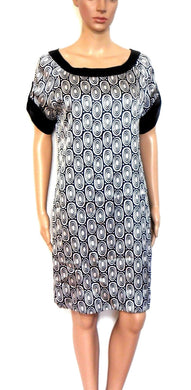 Zara satin tunic dress, black & white graphic, sz. 10/S, exc. cnd.
