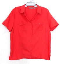 Load image into Gallery viewer, Croft & Barrow coral red sporty shirt with pockets, linen/cotton, sz. 16/L, exc. cnd.