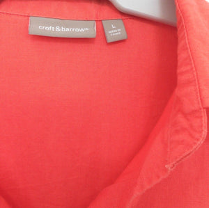 Croft & Barrow coral red sporty shirt with pockets, linen/cotton, sz. 16/L, exc. cnd.