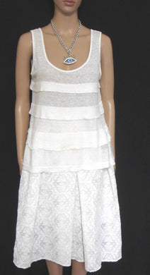 Witchery white tiered tunic top, sz. 10-12 100% linen, #502159, exc. cnd.