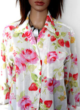 Load image into Gallery viewer, Laura Ashley floral shirt, long line, very pretty & cool, sz. 10-14  pinks