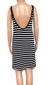 Witchery Breton stripe dress, sz. 12-14, black & white - low back