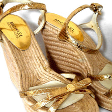 Load image into Gallery viewer, Michael Kors, leather espadrille wedge sandals, gold, sz. 9,5M, exc. cnd.