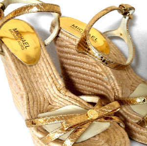Michael Kors, leather espadrille wedge sandals, gold, sz. 9,5M, exc. cnd.