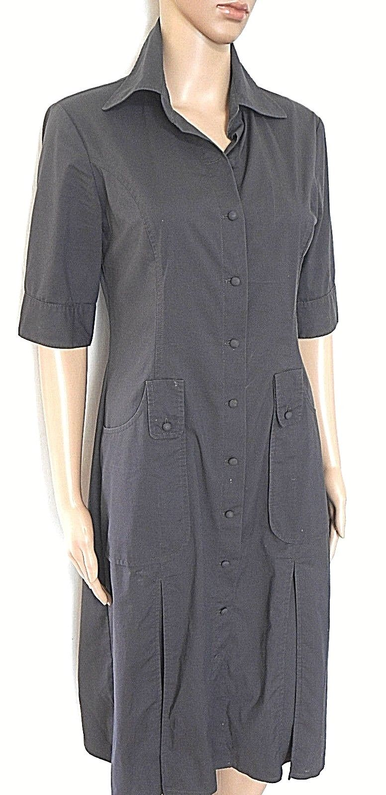 Cue shirt dress, charcoal cotton blend, sz. 10, with pockets & pleats, exc. cnd.