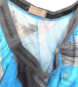 "Peter Alexander leisure/sleep pants, sz. XL, blue/black, NWOT ""Run for Cover"""