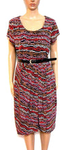 Load image into Gallery viewer, Laura Ashley stretch jersey dress, sz. 14, black/coral/tan, near new