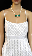 Load image into Gallery viewer, Review dress, white polka dot, sz. 8, pleated - crossed straps, exc. cnd.