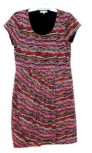 Laura Ashley stretch jersey dress, sz. 14, black/coral/tan, near new