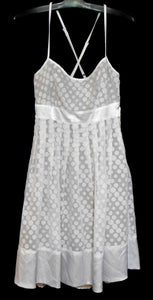 Review dress, white polka dot, sz. 8, pleated - crossed straps, exc. cnd.