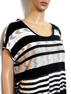 Country Road, linen/cotton tunic top, black & white, sz.10-14/S exc. cnd.