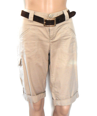DKNY shorts, camel beige with Motivi Italian leather belt, sz. 10-12, near new