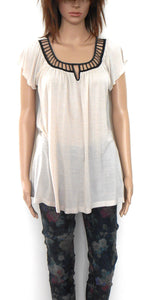 Witchery  beige tunic top, sz. 10-12/S, as new, black trim