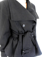 Load image into Gallery viewer, Ojay fine wool black jacket, double breasted, very chic, sz. 14, near new
