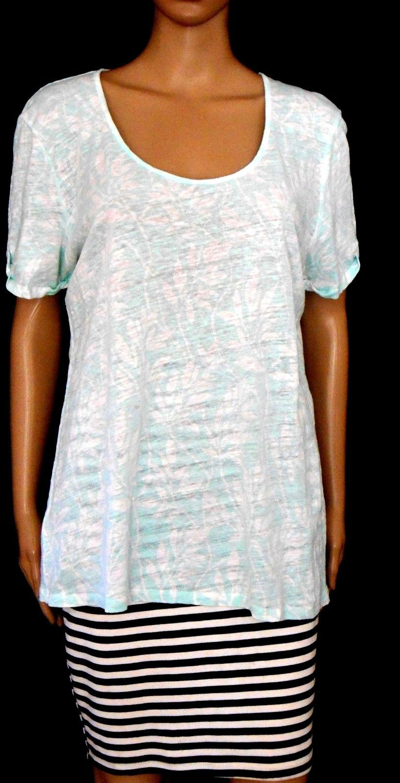 Country Road, mint green/white linen blend tunic top, sz. 14-16/L, exc. cnd.