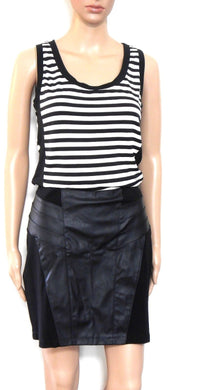 Sportsgirl black pencil skirt with leather like trim, sz. 14/L, ***NWT